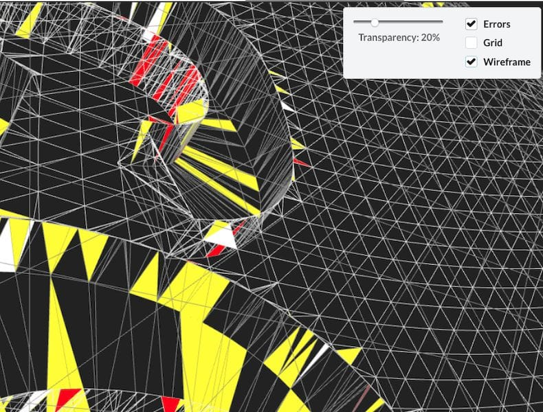 Emendo's 3D model analysis shows problematic triangles in a 3D mesh