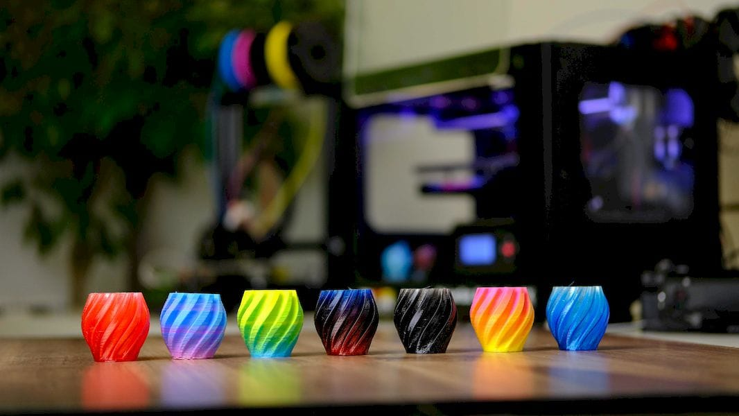 Samples produced by M3D's new Crane Quad full color 3D printer