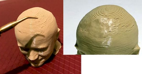 Smoothing the layer lines on a test print, before and after. Note only a small section was smoothed