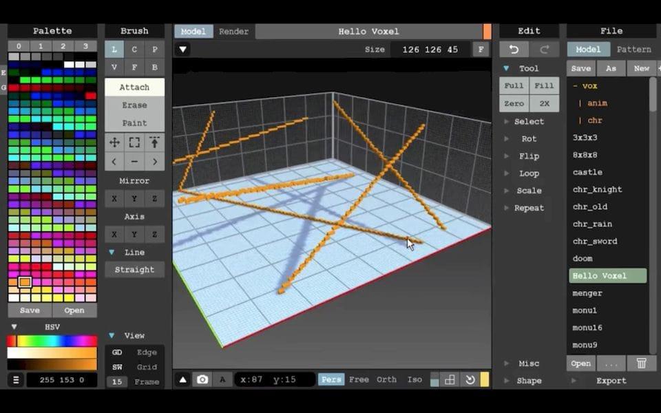 Using MagicaVoxel's line tool