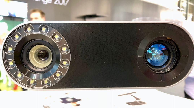 The lens system on the Artec Leo handheld 3D scanner