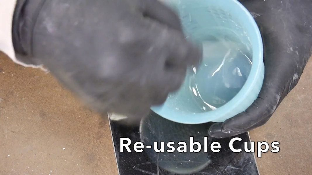 Reusable cups are very helpful during resin casting