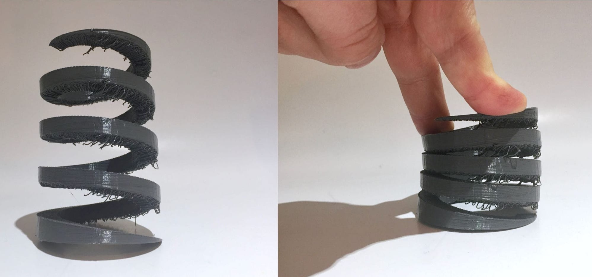 A compressible spring 3D printed with MakerBot's Tough PLA system