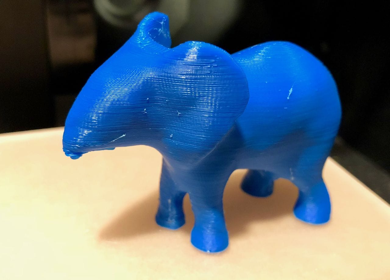 A (mostly) successful 3D print derived from a Google Poly 3D model. Yes, the trunk needs some work, sigh