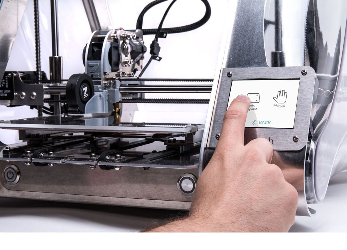 Operating the front panel on the Zmorph VX multitool 3D printer