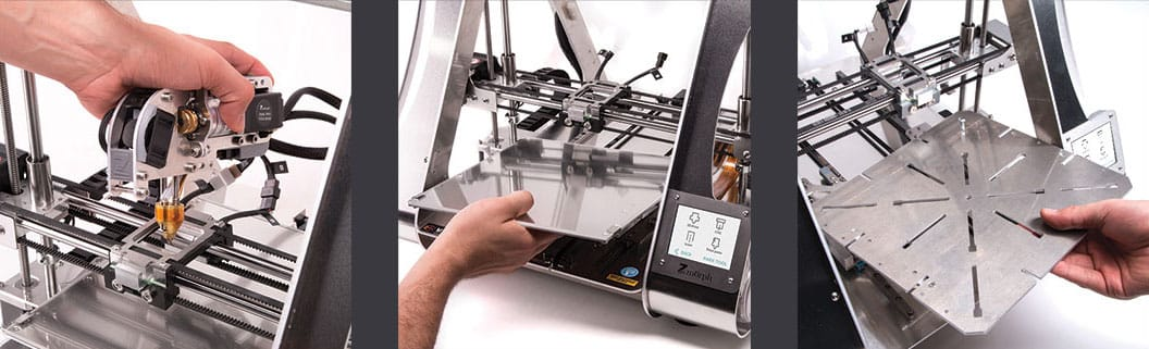 Swapping tools and work surfaces on the Zmorph VX multitool 3D printer
