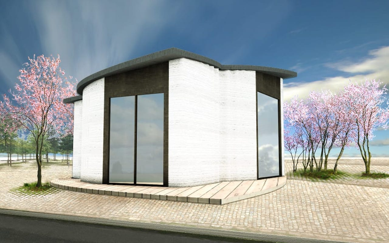 Rendering of the completed 3D printed building in Copehagen. It is not very large