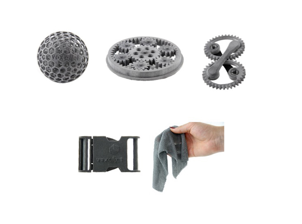 Sample plastic parts produced by the new HSS process from voxeljet, including a flexible mesh