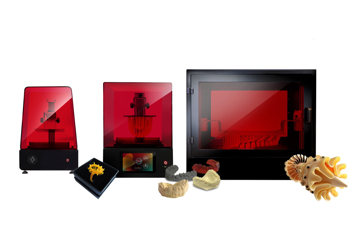 The Photocentric desktop 3D printer lineup, including the Liquid Crystal Precision, HR and Pro.