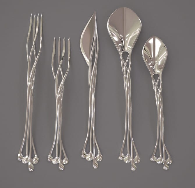 A 3D printed flatware collection designed by Bitonti Studio