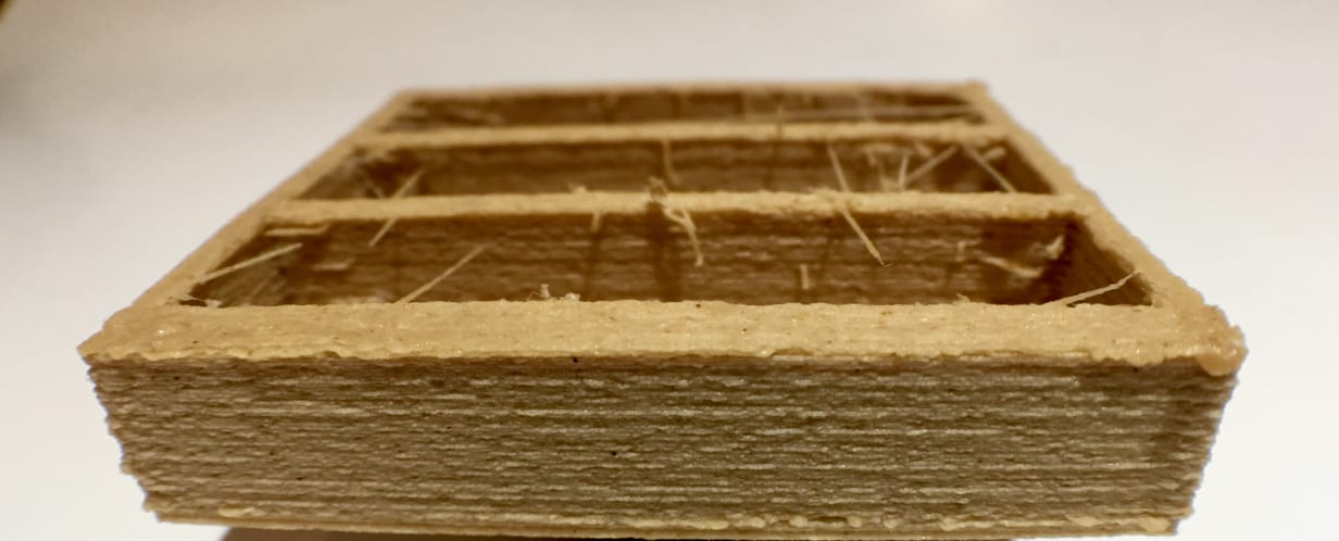Fiberlogy's wood fiber filament typically produces a wood-like surface finish