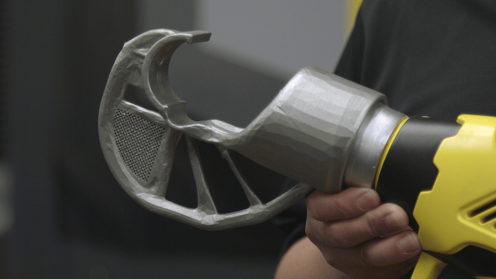 An unusual 3D printed part with shape generated by Autodesk's new Netfabb system