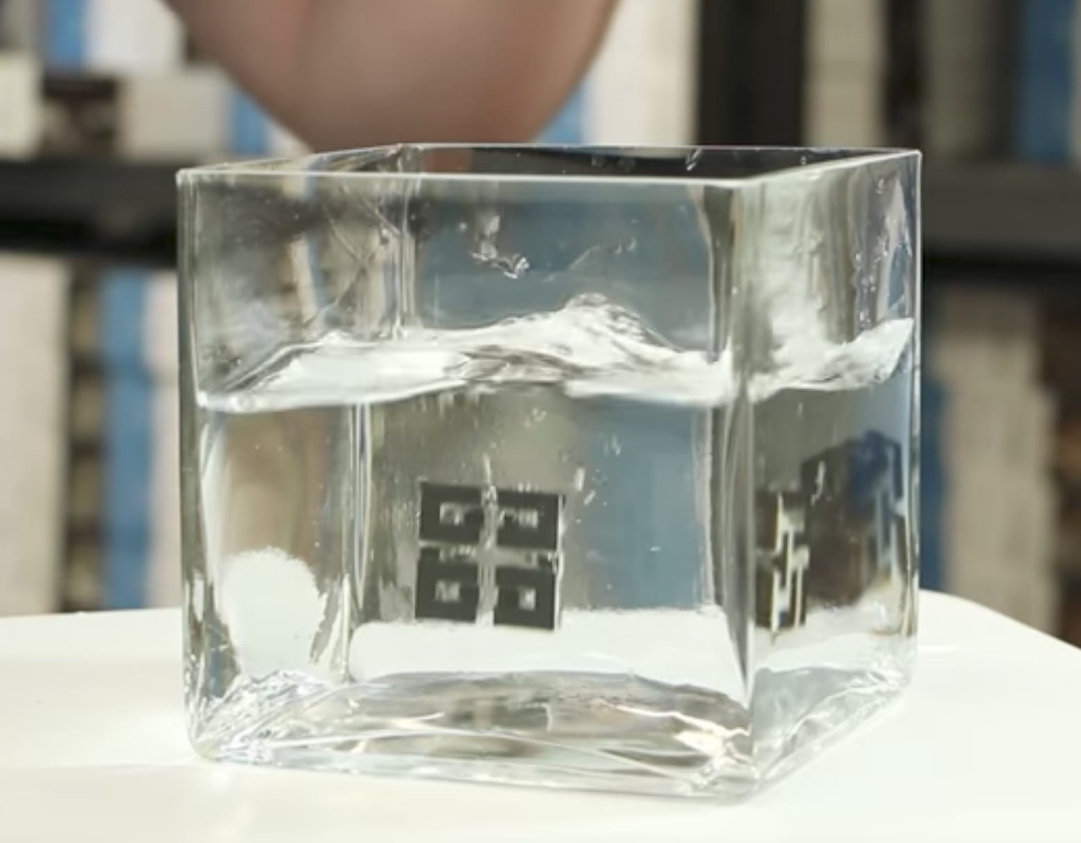 A 3D print having support structures made in 3D-Fuel's HydroSupport dissolving in water