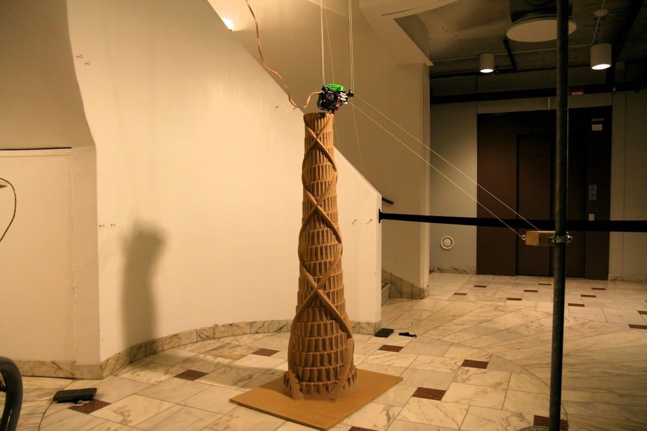 The Hangprinter 3D printing a tall tower