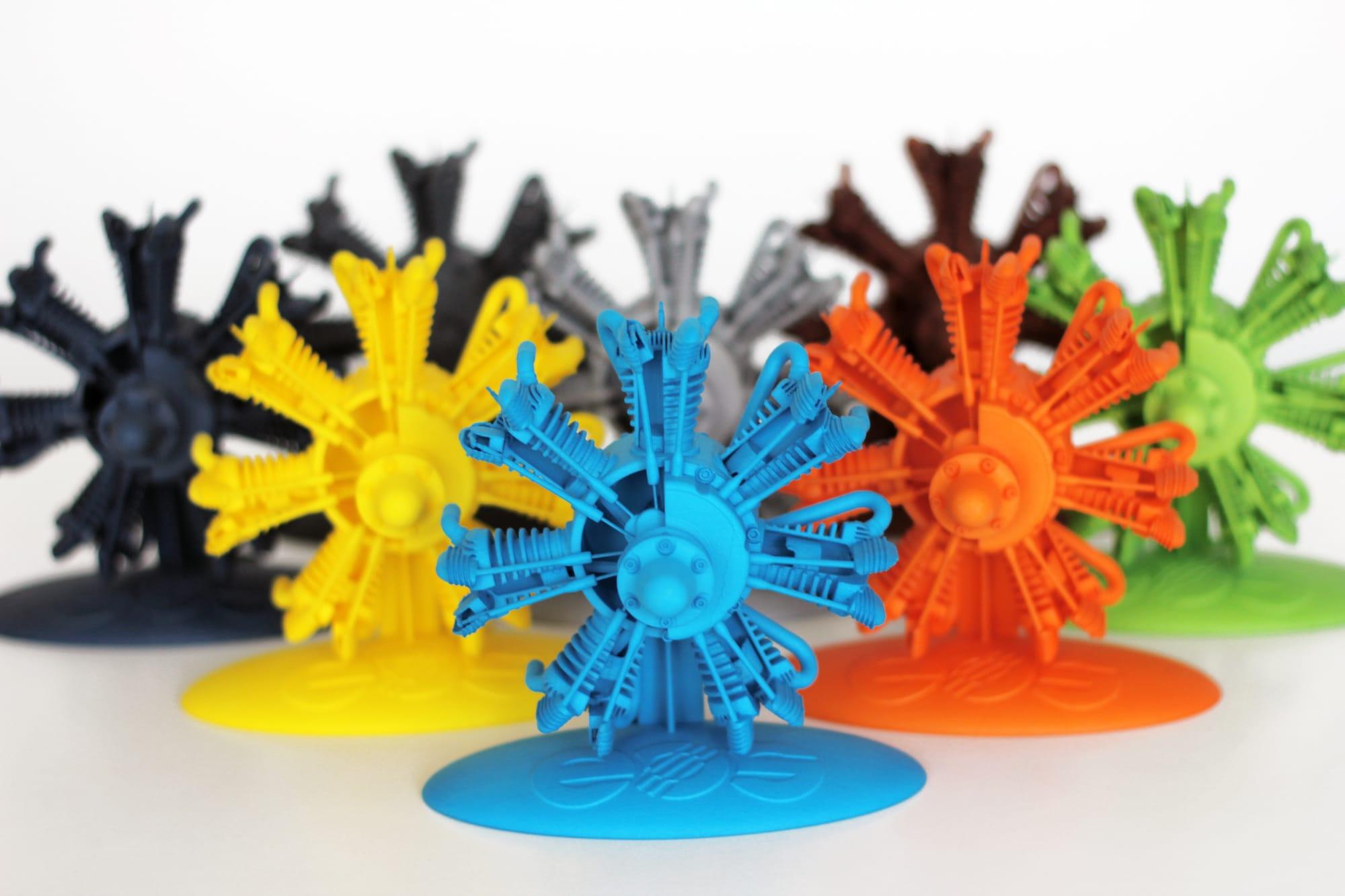 Sample 3D prints colored by Dye Mansion's DM60 unit
