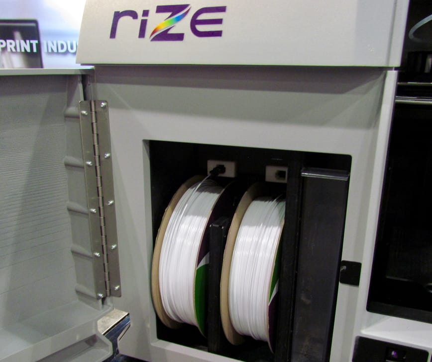 The Rize 3D printer includes capacity for two large spools of their strong proprietary plastic