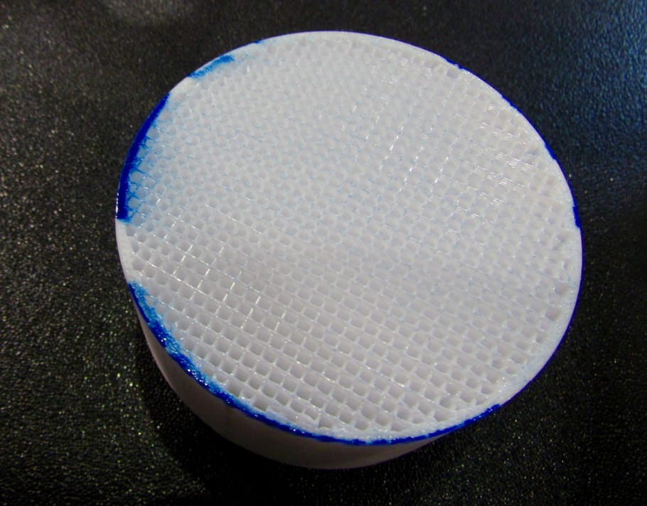 A partially completed 3D print from the Rize machine showing how the color ink soaks into the object. It's not just on the surface; it's embedded in the object