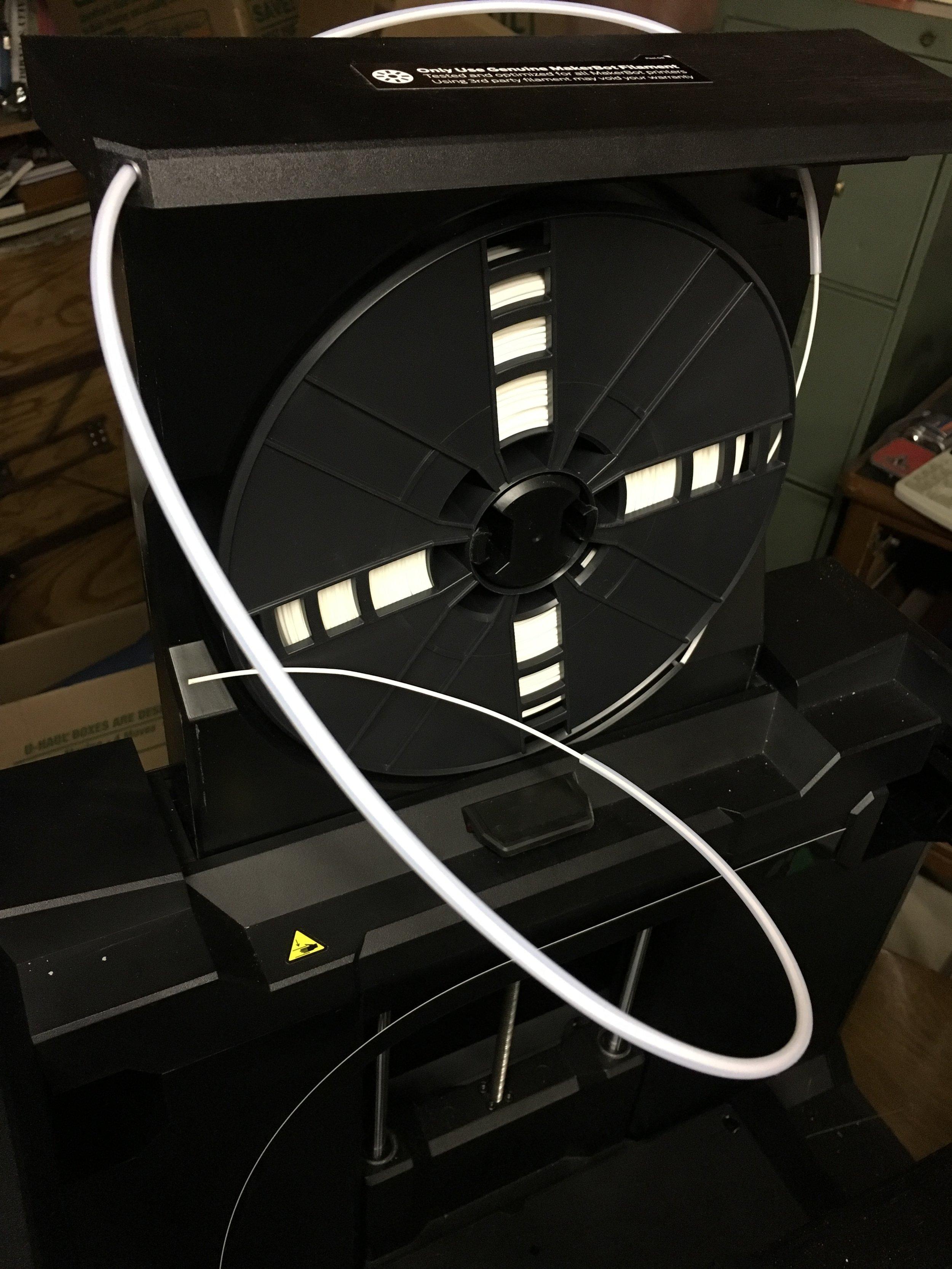 The sometimes-dangerous MakerBot Replicator+ vertical filament drawer