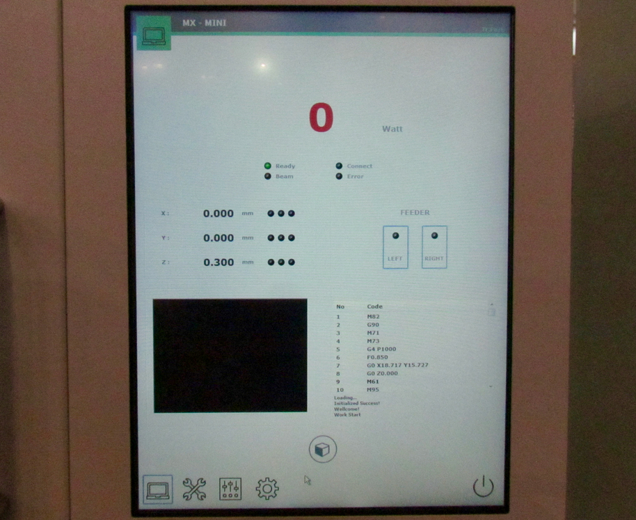 The operations panel on the InssTek desktop 3D metal printer