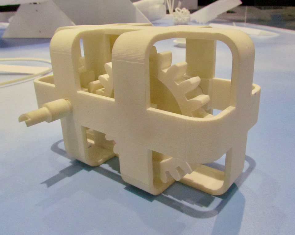 A finely detailed sample part printed on the Ricoh AM 5500SP SLS 3D printer