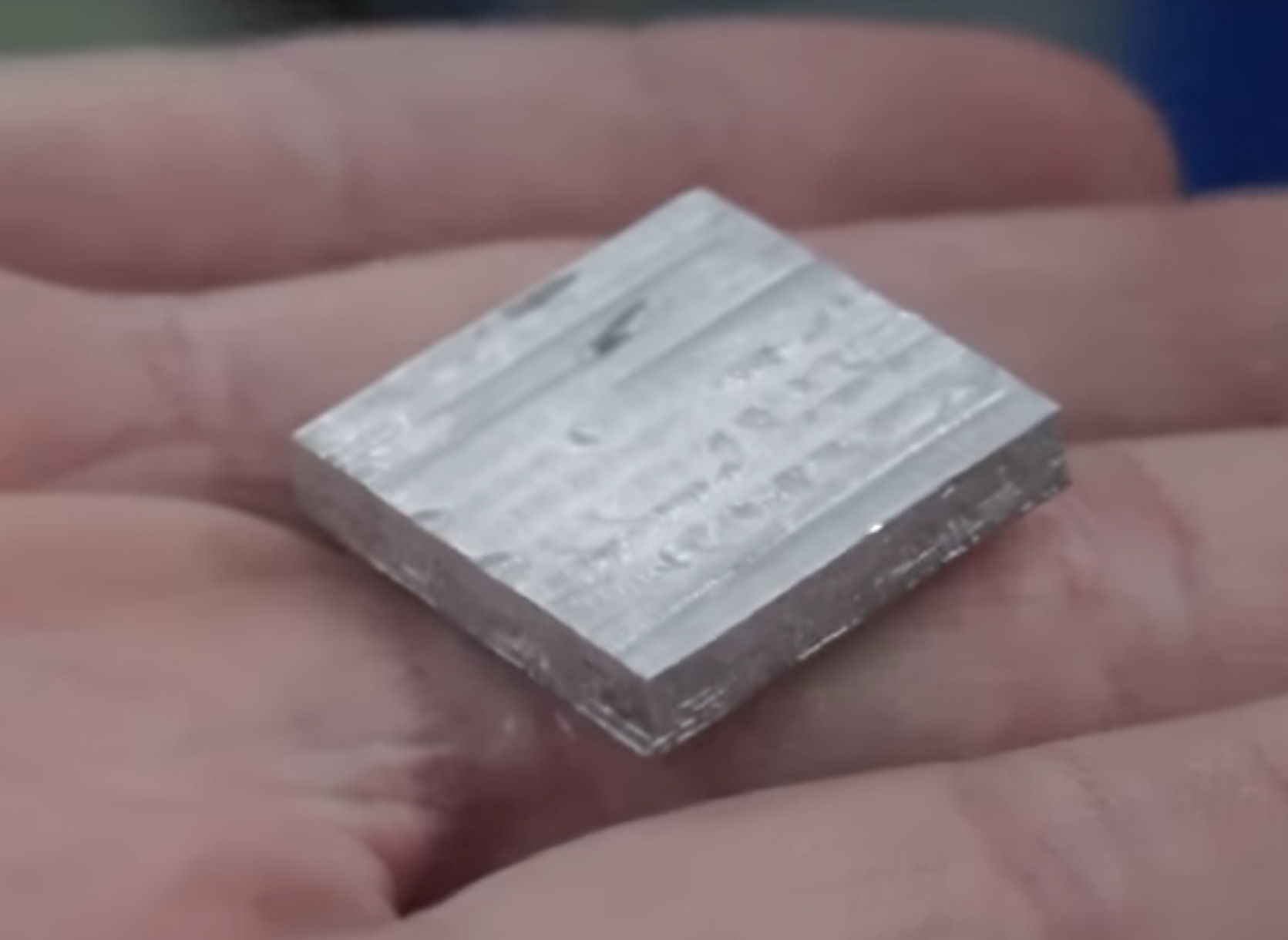 A 3D printed metal sample from the Ability3D device. Note the crisp edges