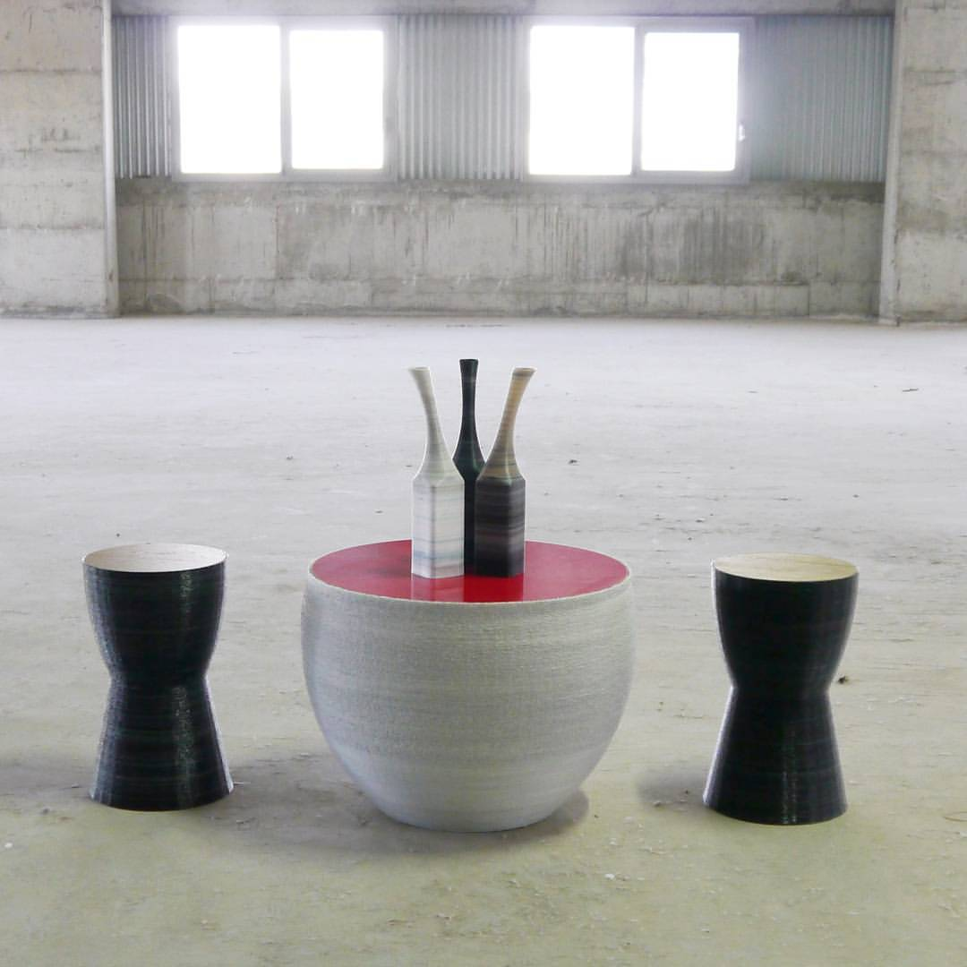A life-size seating arrangement 3D printed by Fleximatter