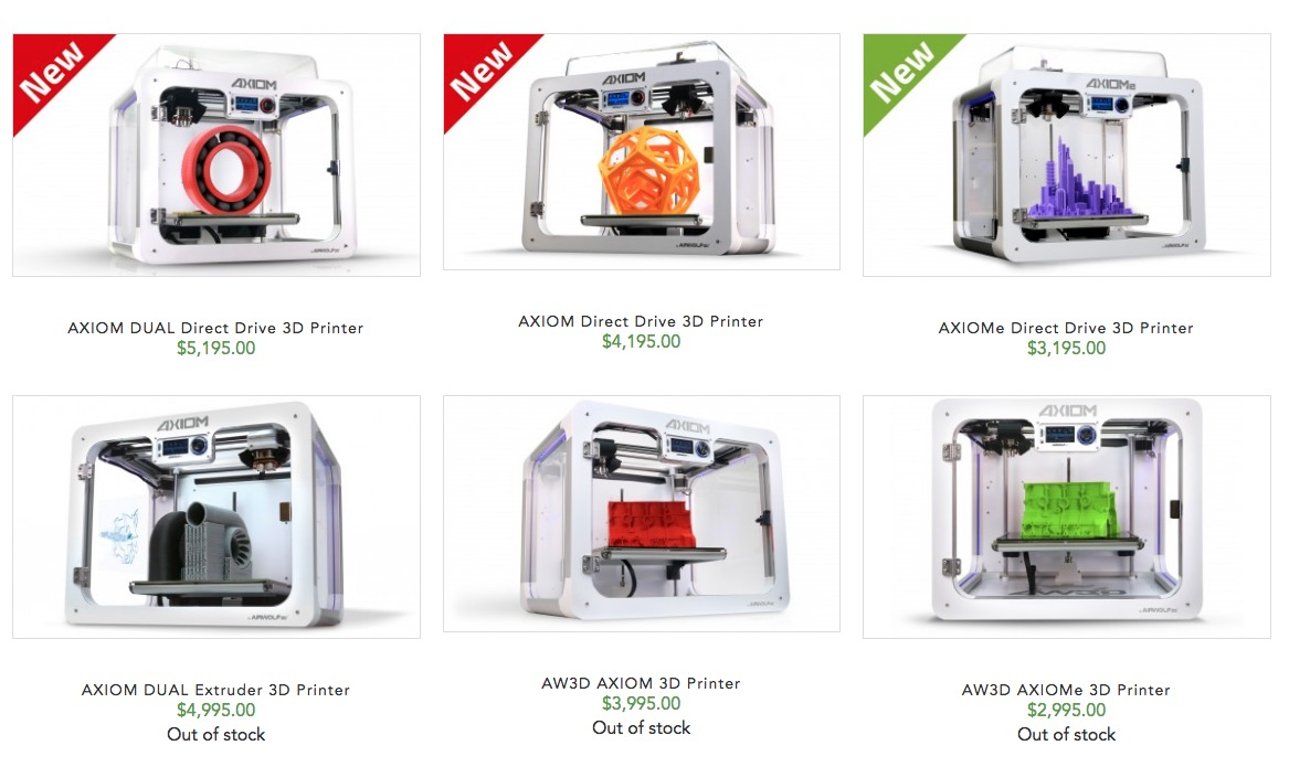 Airwolf3D's suite of AXIOM machines, now including direct drive