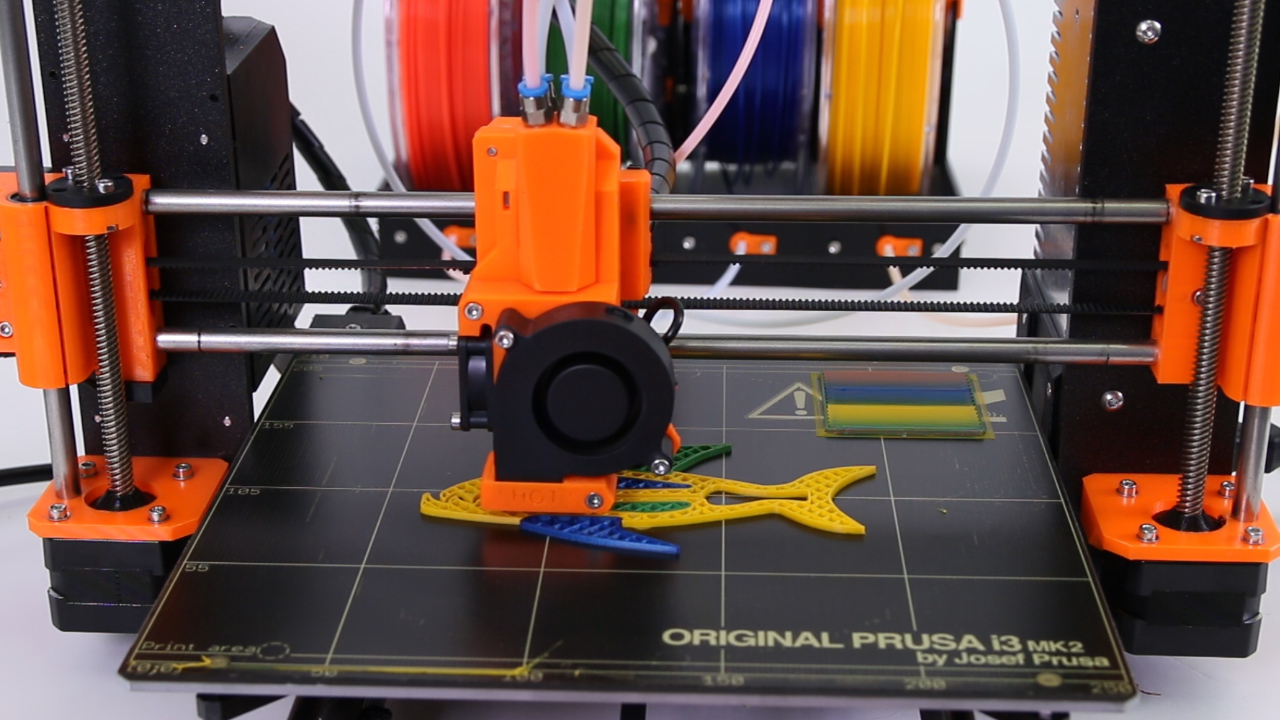 Prusa's Quad extrusion concept in action. Note the