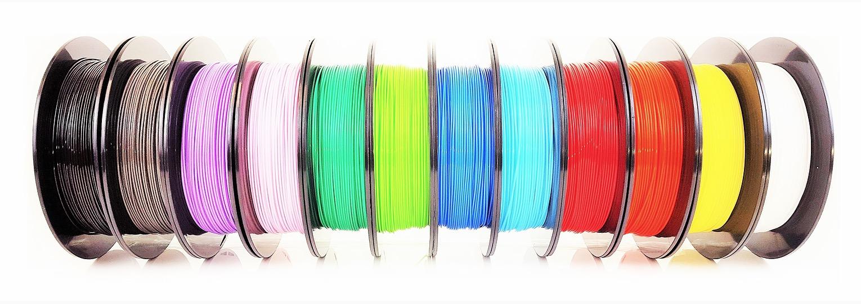 A shelf of 500g filament spools from AIO Robotics