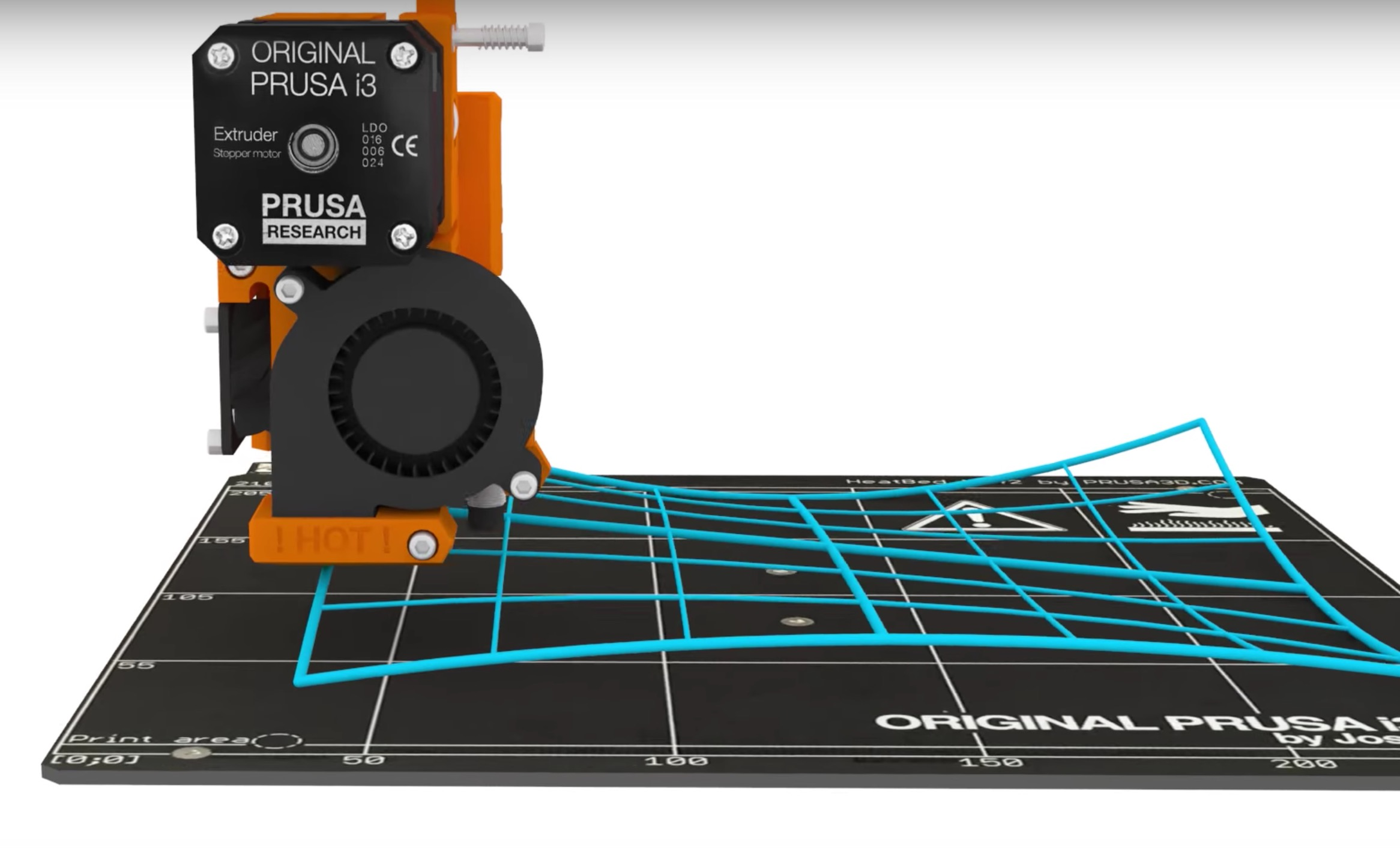 A graphic showing how the Prusa i3 MK2's auto calibration system handles non-flat print surfaces