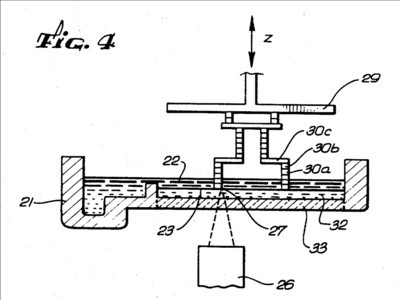 """""""Fig. 4"""" from Chuck Hull's original SLA patent inspired the design of the new Figure 4 3D printing system. (Image courtesy of 3D Systems/USPTO.)"""