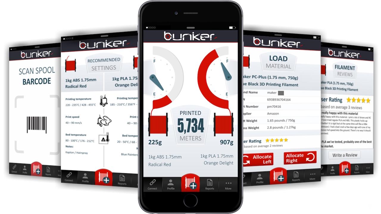 The Bunker's app shows all manner of live statistics on 3D printer filament usage