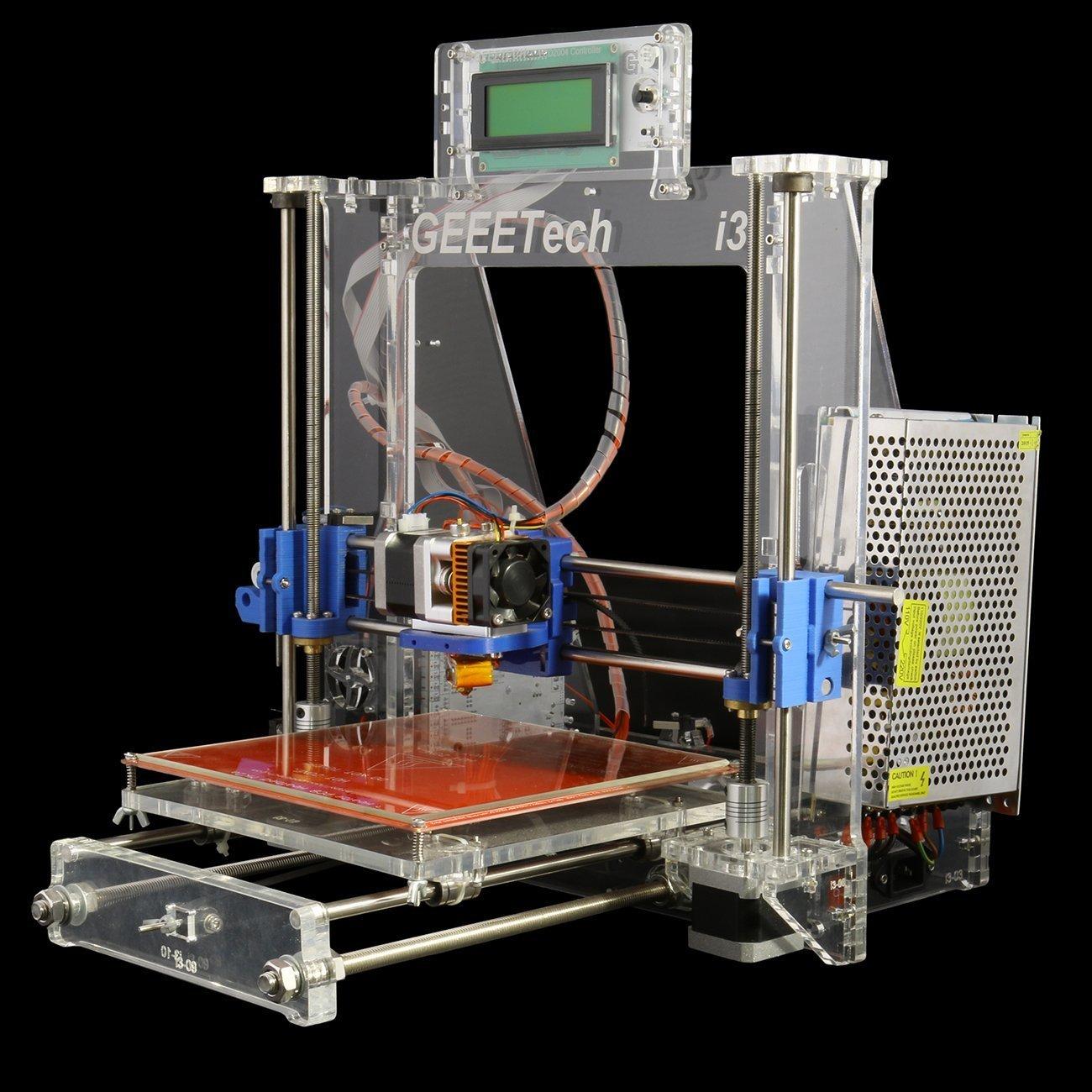 A desktop 3D printer with a transparent aluminum frame