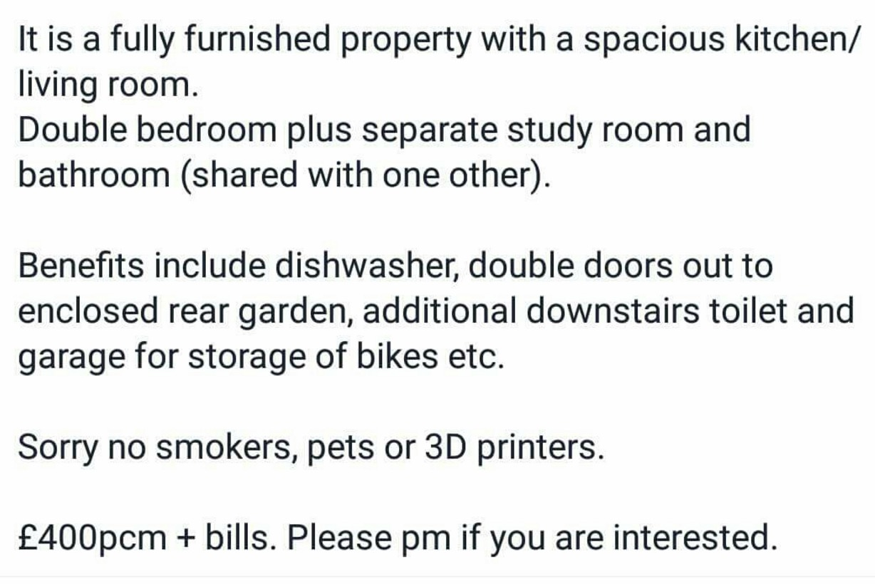 """""""No Smokers, Pets or 3D Printers, Please"""""""