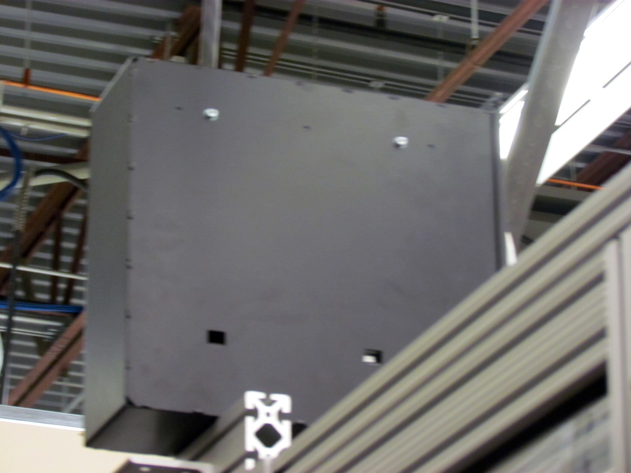 The filament canister on the Stratasys Robotic 3D Demonstrator is at the top of the machine