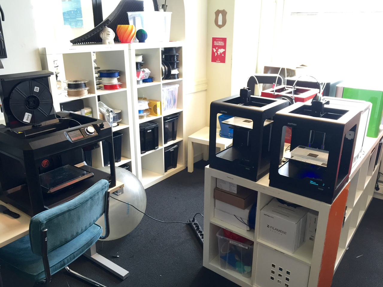 The 3D printer lab in 3D Hubs' HQ
