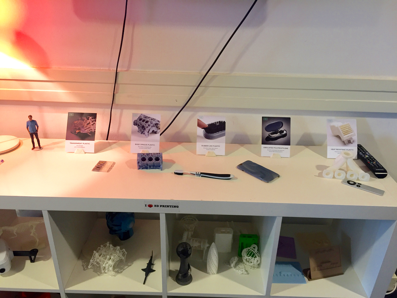 Samples from 3D Hubs' printer network to show visitors their broad capabilities