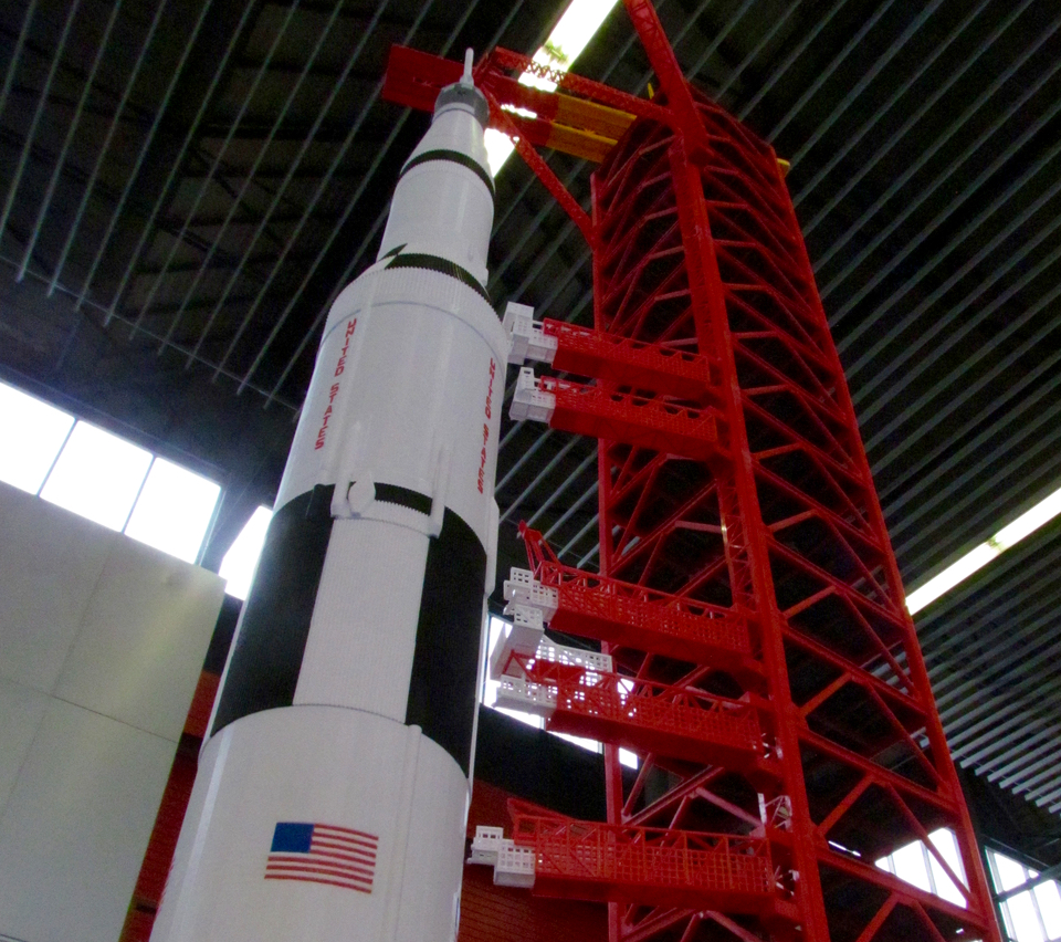 This 3D print of a Saturn V Rocket is extremely tall