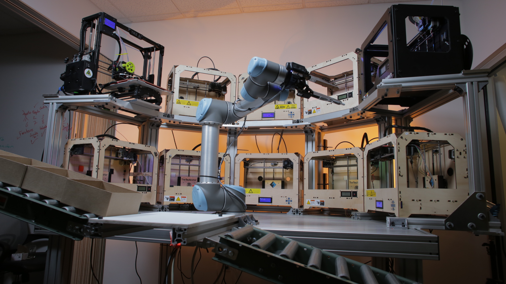The Tend.ai system at work managing 3D printers