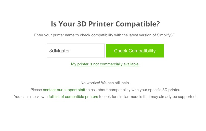 Simplify3D's printer compatibility tool