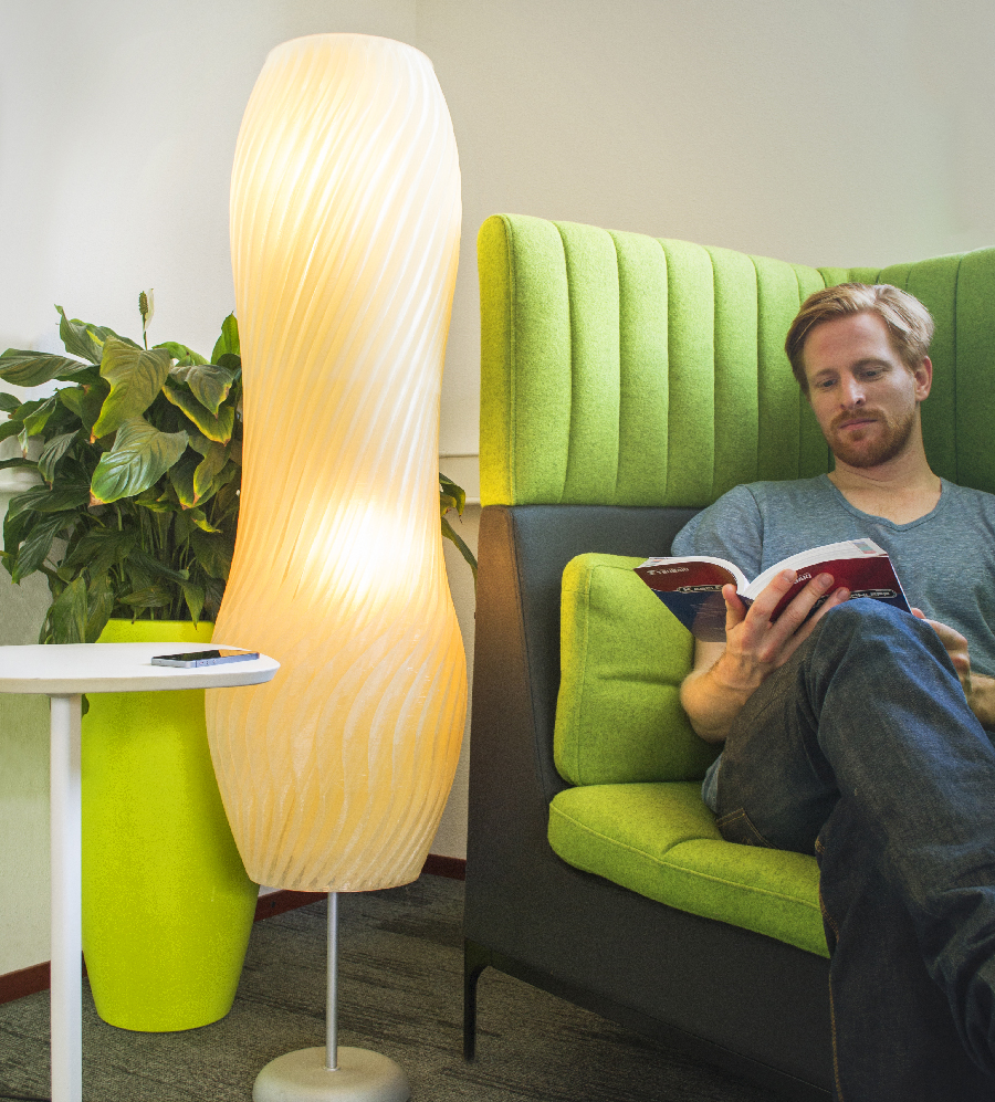 A stylish 3D printed lampshade printed on the new Leapfrog Xcel