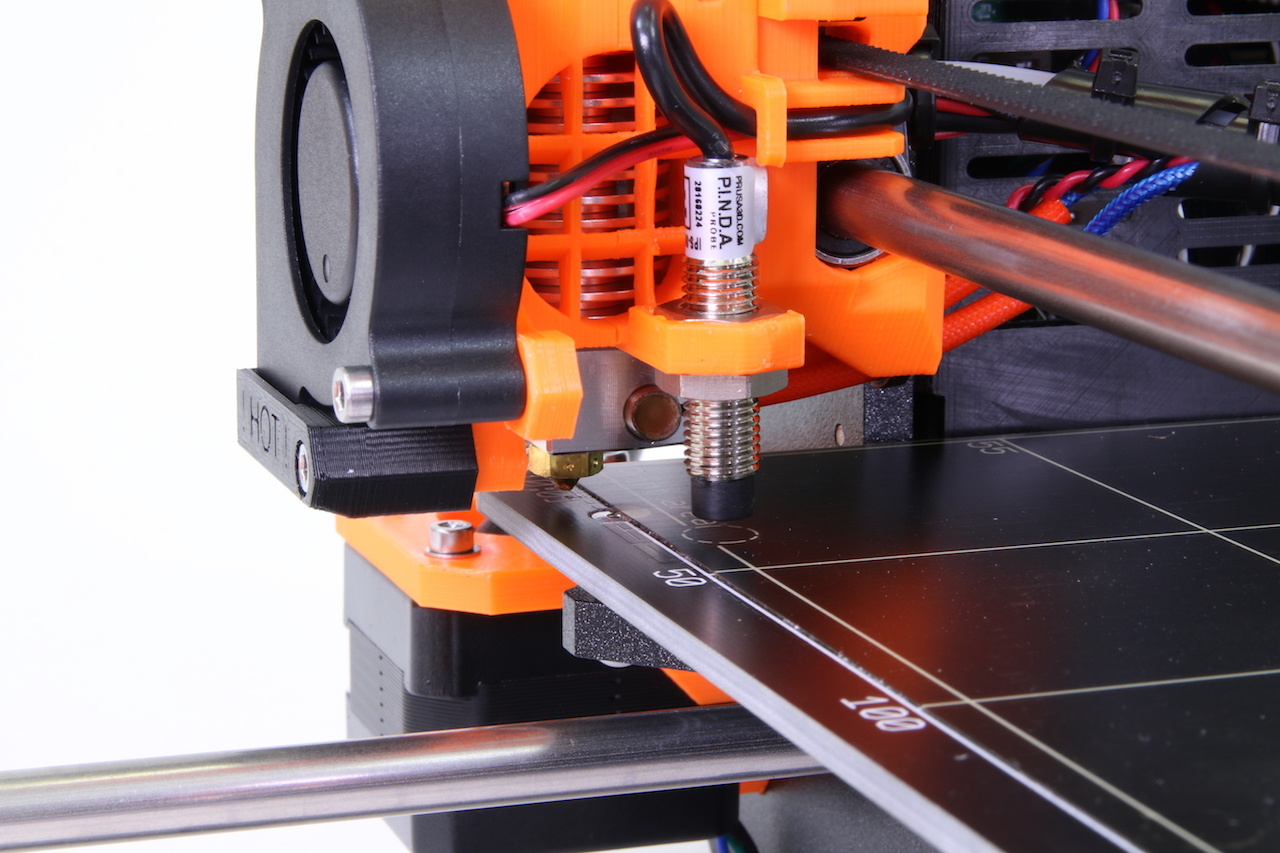 The Prusa i3 MK2 calibration probe in action