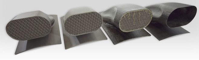 Composite parts made using Stratasys' new ST-130 high temperature dissolvable support material