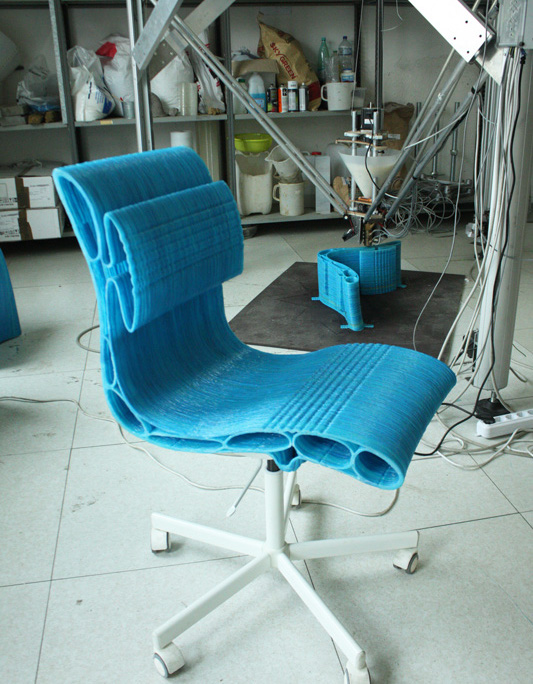 Completed 3D printed chair by the Delta Wasp Pellet 3D printer