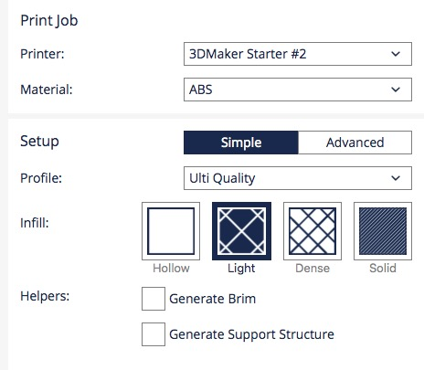 Cura 2.1 simple mode interface