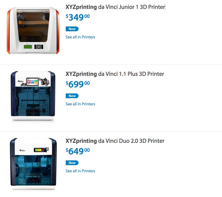 XYZprinting's 3D Printers Now Available at Walmart