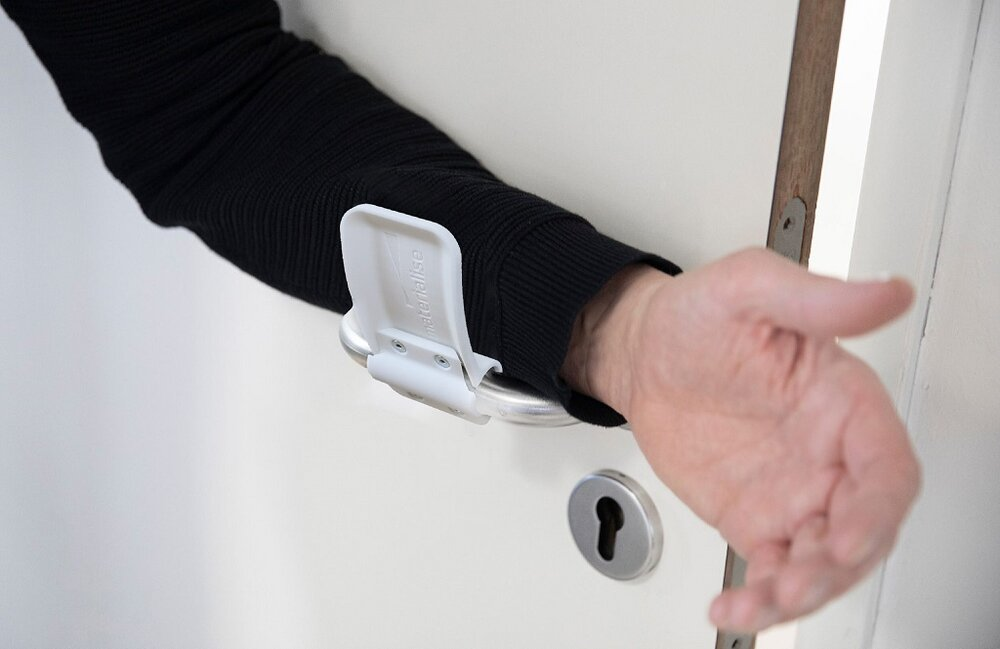 The hands-free design allows for a door to be opened with the forearm [Image: Materialise]
