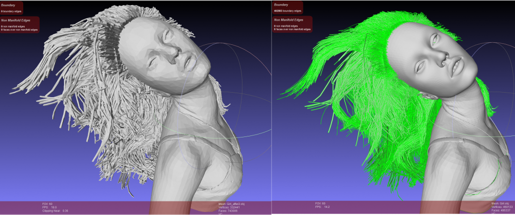 Repairing a highly complex 3D model of hair - something I wouldn't even attempt with other repair systems