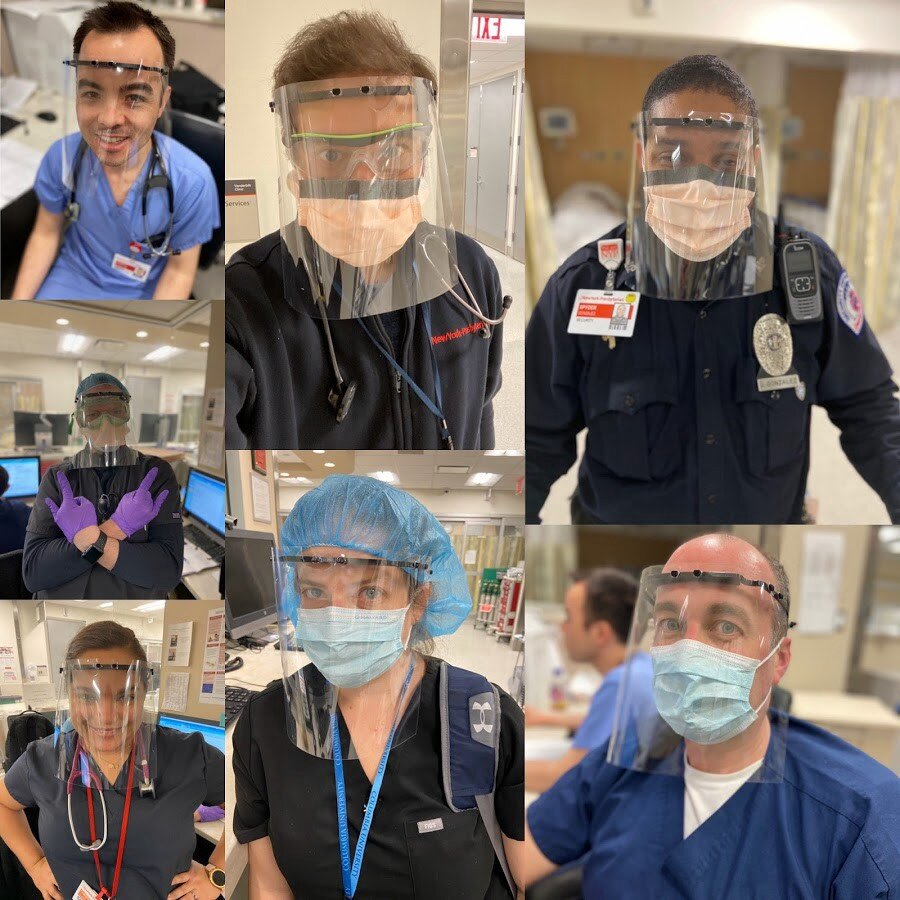 Healthcare professionals at Columbia University Medical Center/New York-Presbyterian Hospital using 3D printed face shields thanks to the MatterHackers Maker Response Hub .