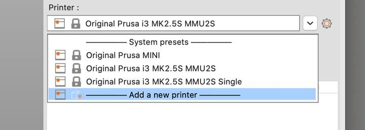 """Selecting printer modes on PrusaSlicer after the MMU2S upgrade: multi-material and """"Single"""" modes [Source: Fabbaloo]"""
